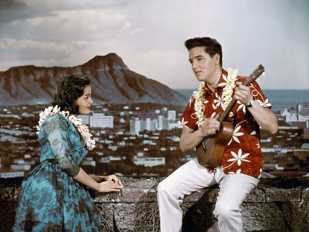 Elvis with an ukulele