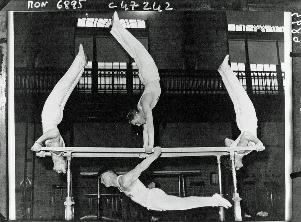 Marines doing gymnastics